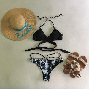 Other - Black Palm Tree Wrap Bikini